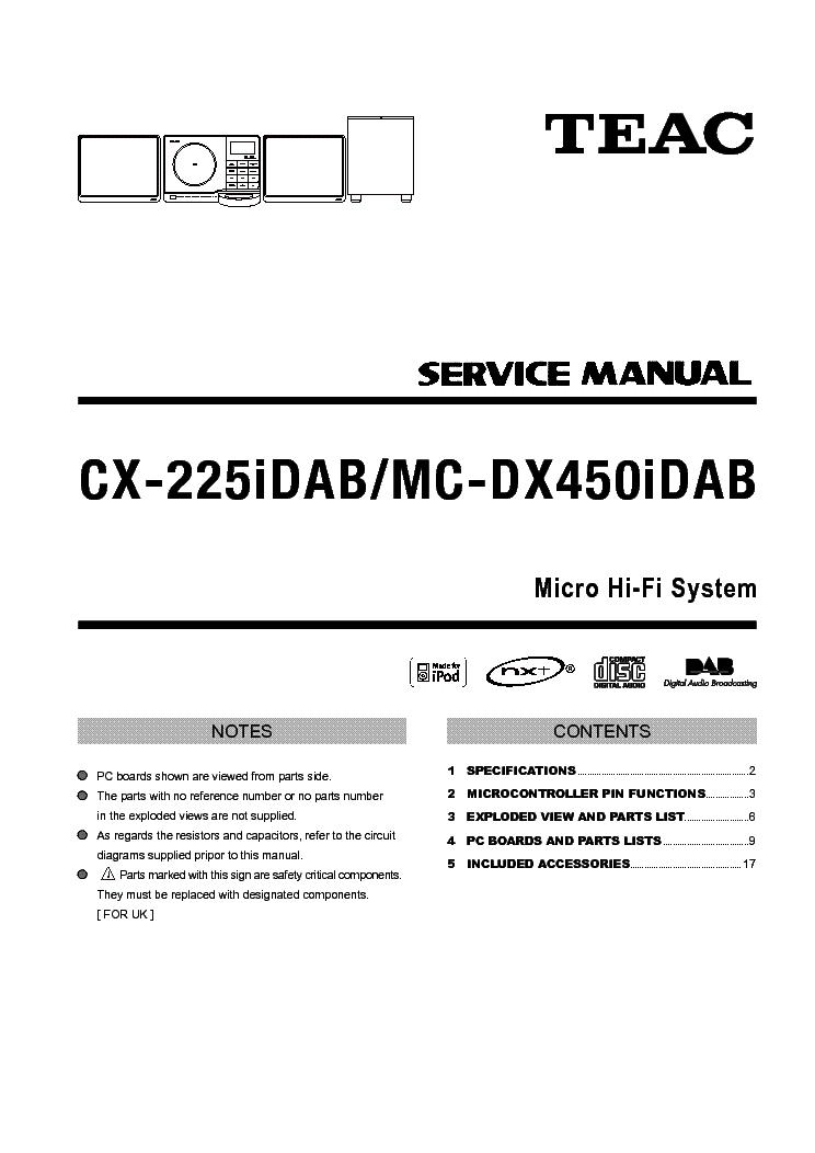 TEAC MC-DX50I SM Service Manual download, schematics, eeprom