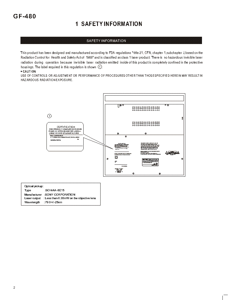 TEAC GF-480 SM service manual (2nd page)