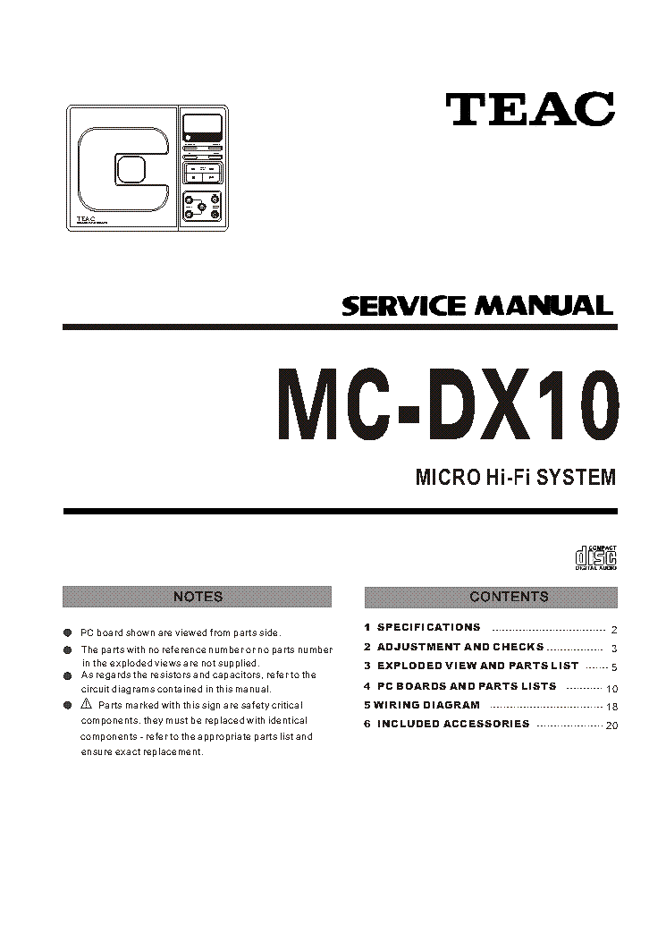 Teac mc dx10 Pdf manual