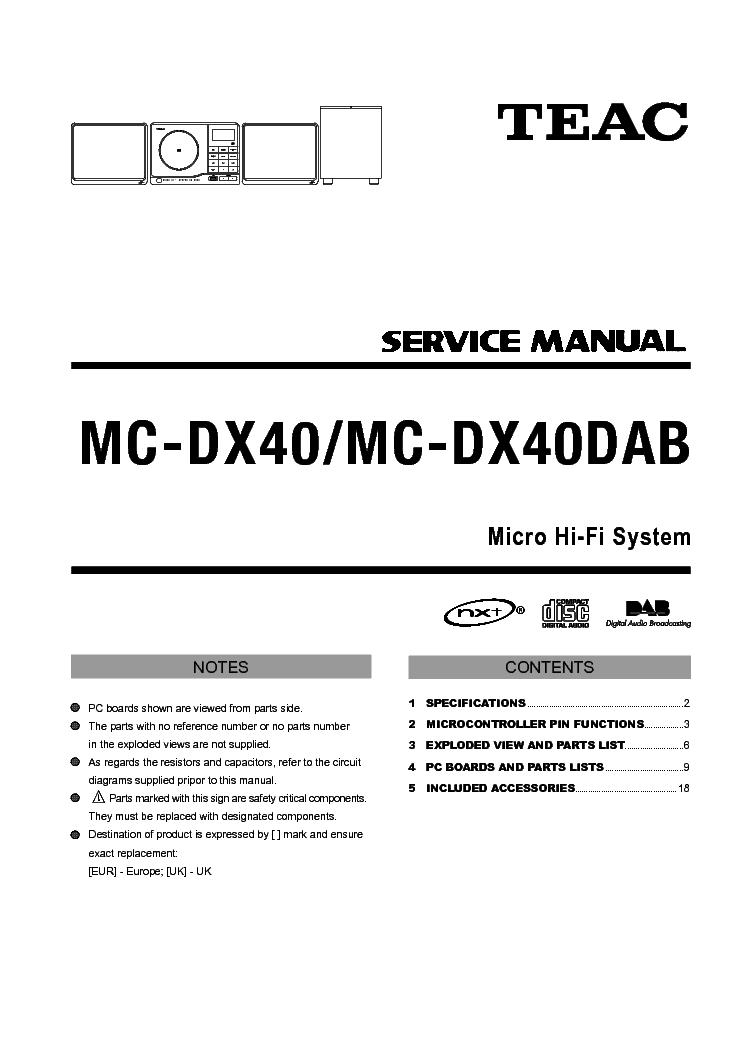 TEAC MC-DX40-DAB SM Service Manual free download, schematics ...