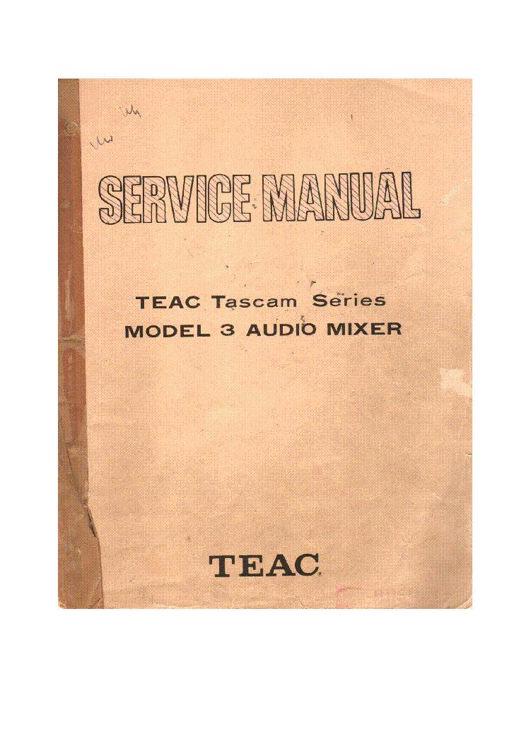 TEAC TASCAM MODEL 3 SERIES MIXER SM Service Manual download