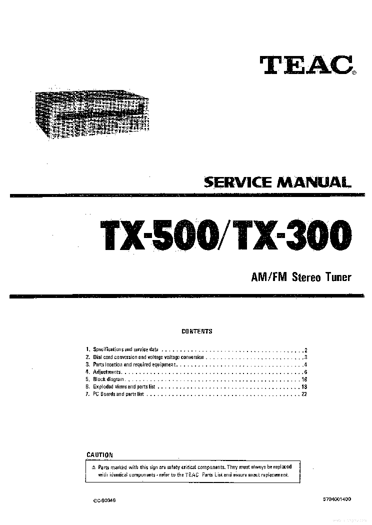 TEAC T-H500 SM Service Manual download, schematics, eeprom