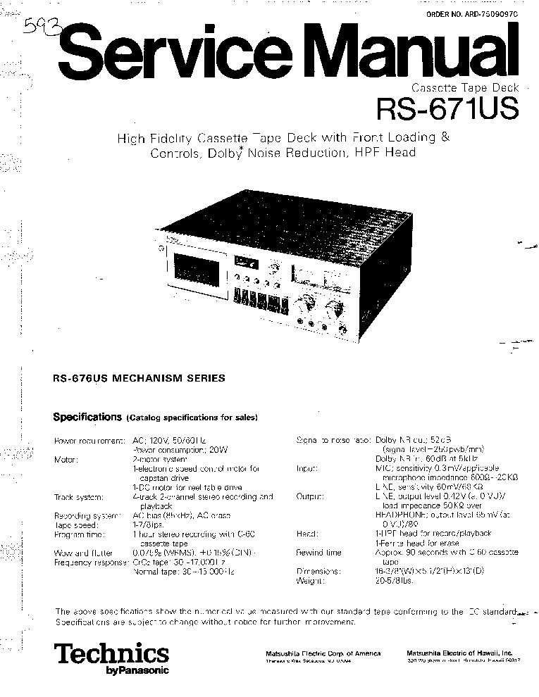 Technics rs 671us manual Pdf