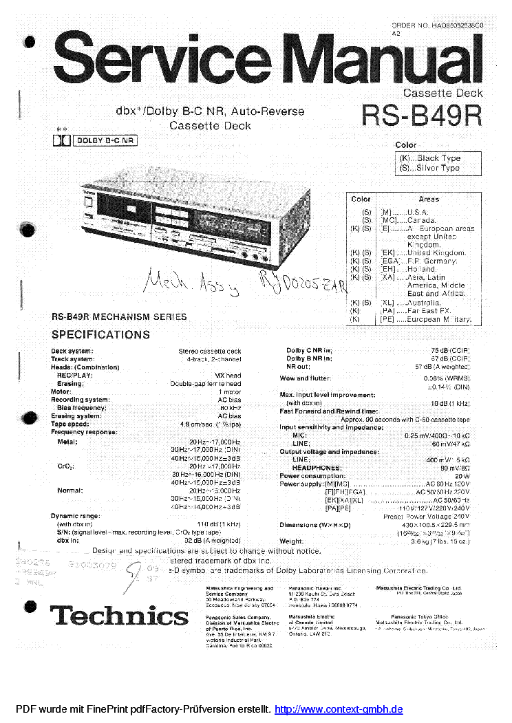 TECHNICS RS-B49R SCH service manual (1st page)
