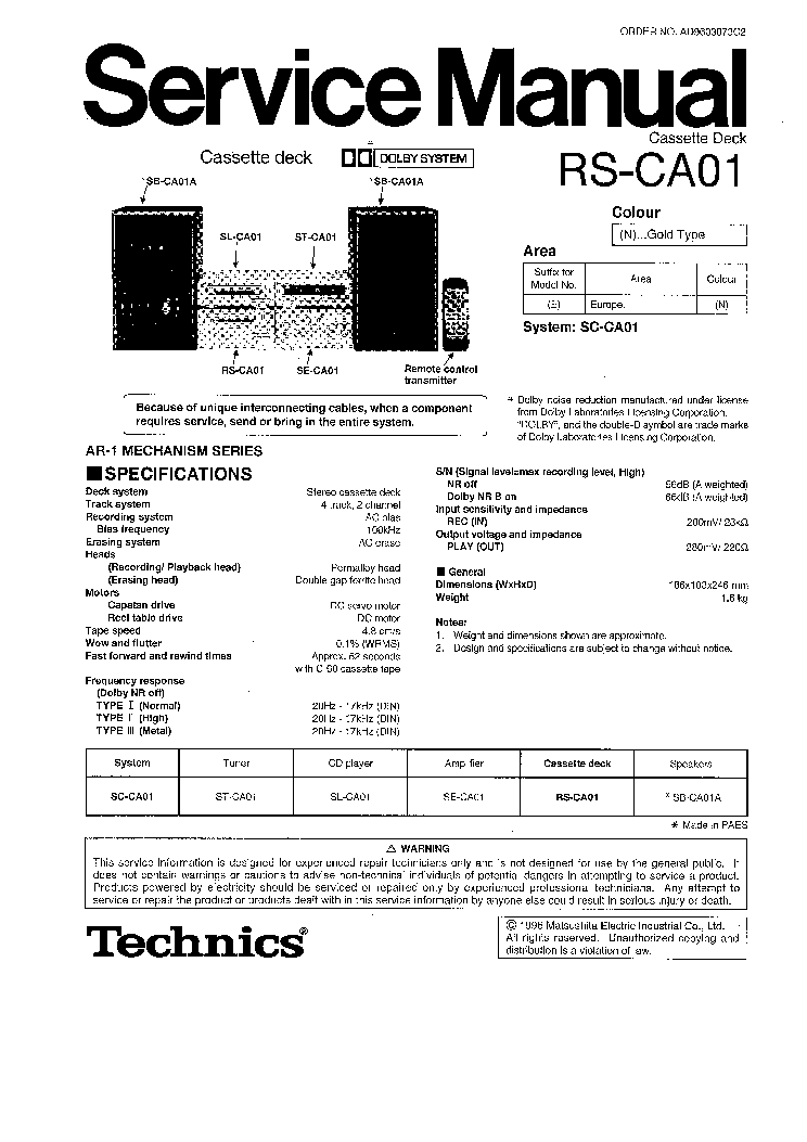 Technics rs eh600 manual