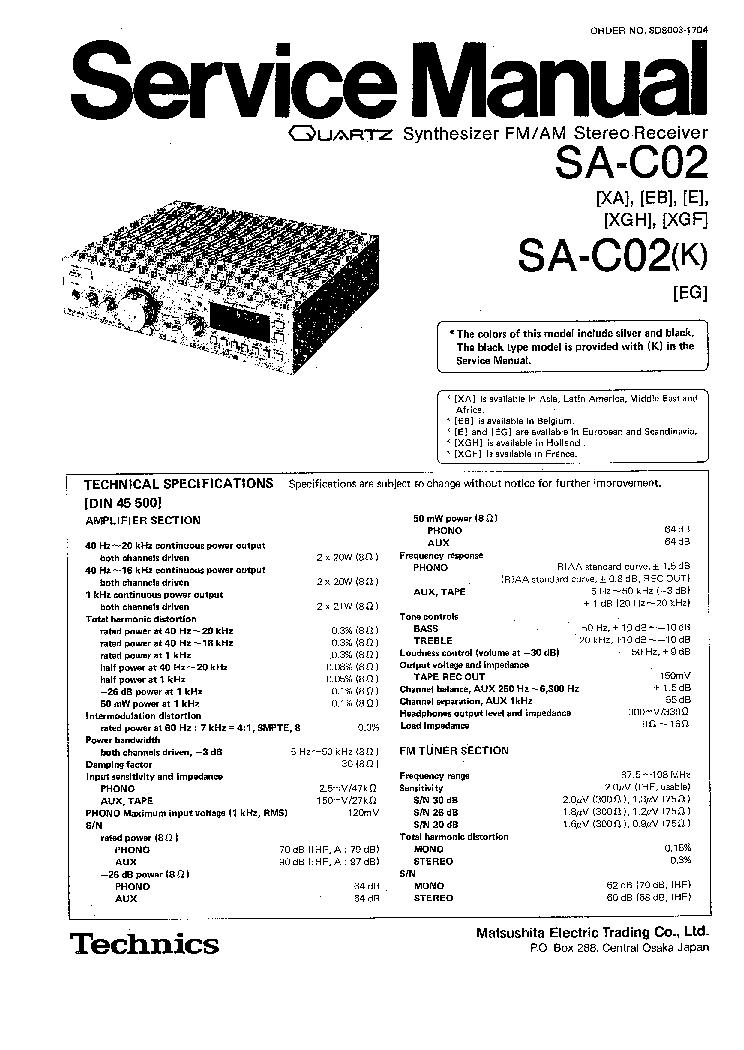 TECHNICS SA-C02 Service Manual download, schematics, eeprom