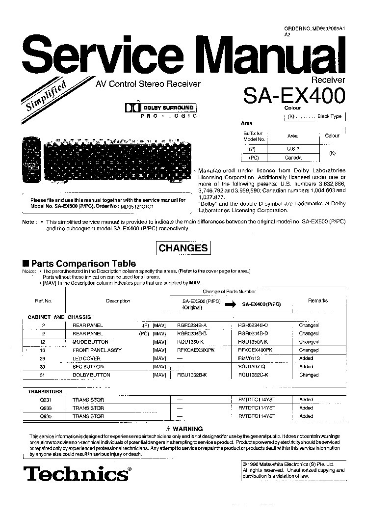 TECHNICS SA-EX400 P PC SCH service manual