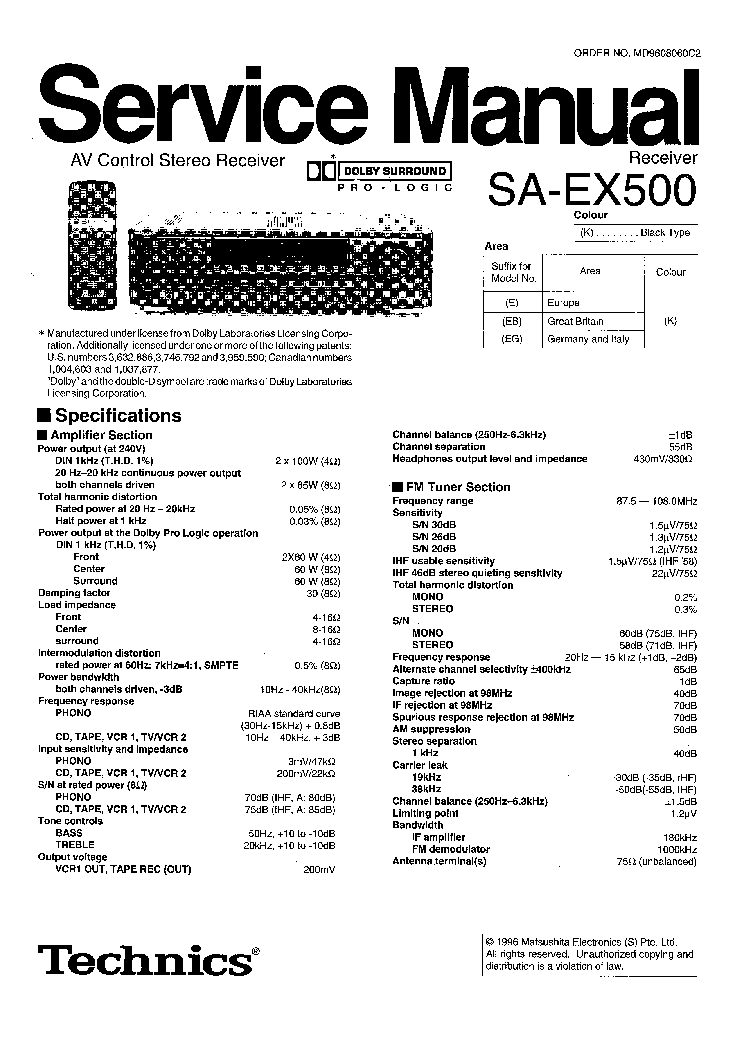technics sa ex500 e eb eg sm 1 service manual download