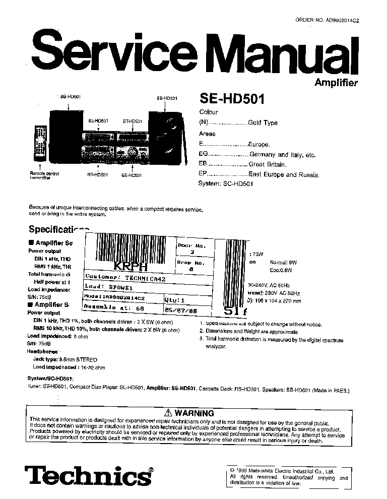 TECHNICS SE-HD501 service manual (1st page)