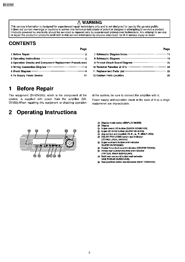 TECHNICS SH-DV250EG service manual (2nd page)