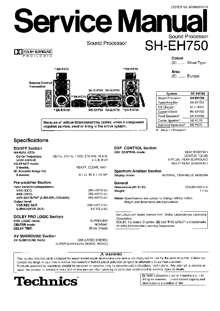 TECHNICS SH-EH750 service manual