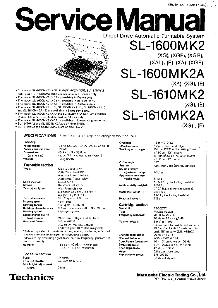 technics sl 1600 wiring diagram