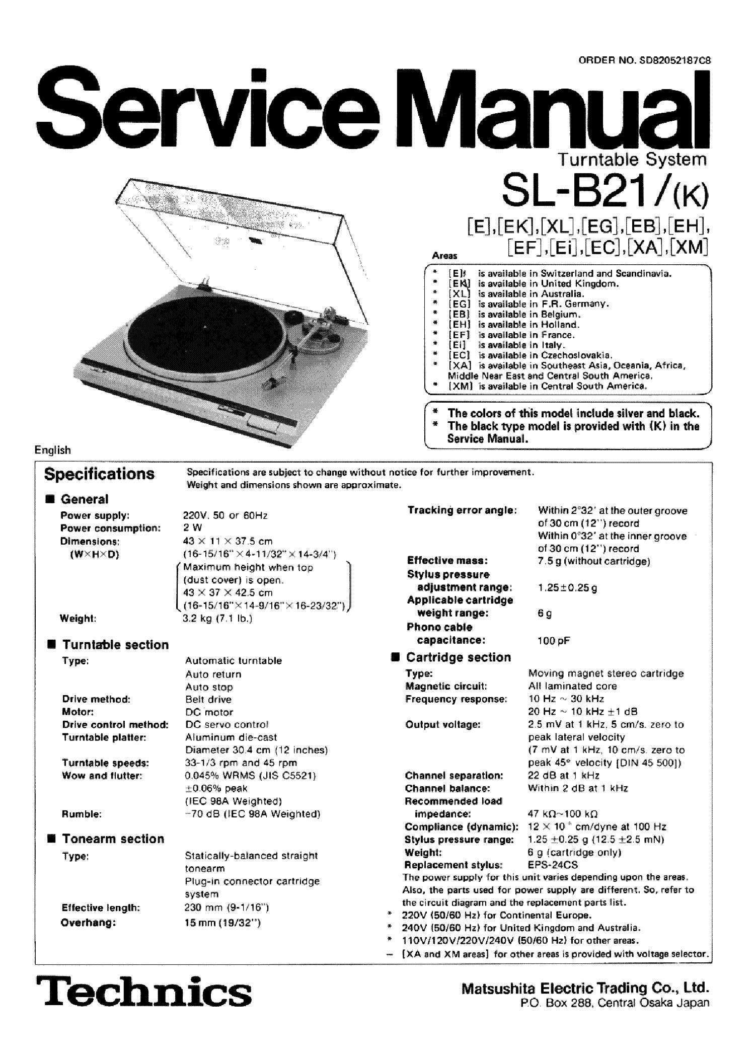 TECHNICS SL-B21 TURNTABLE service manual (1st page)