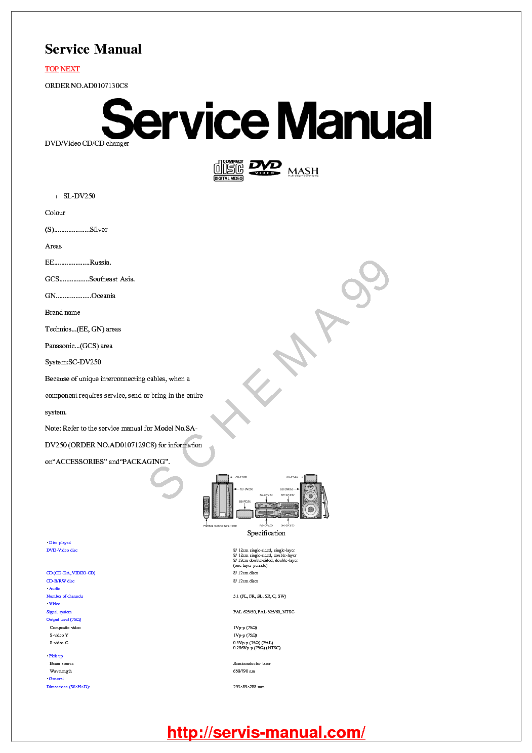 TECHNICS SL-DV250 Service Manual download, schematics