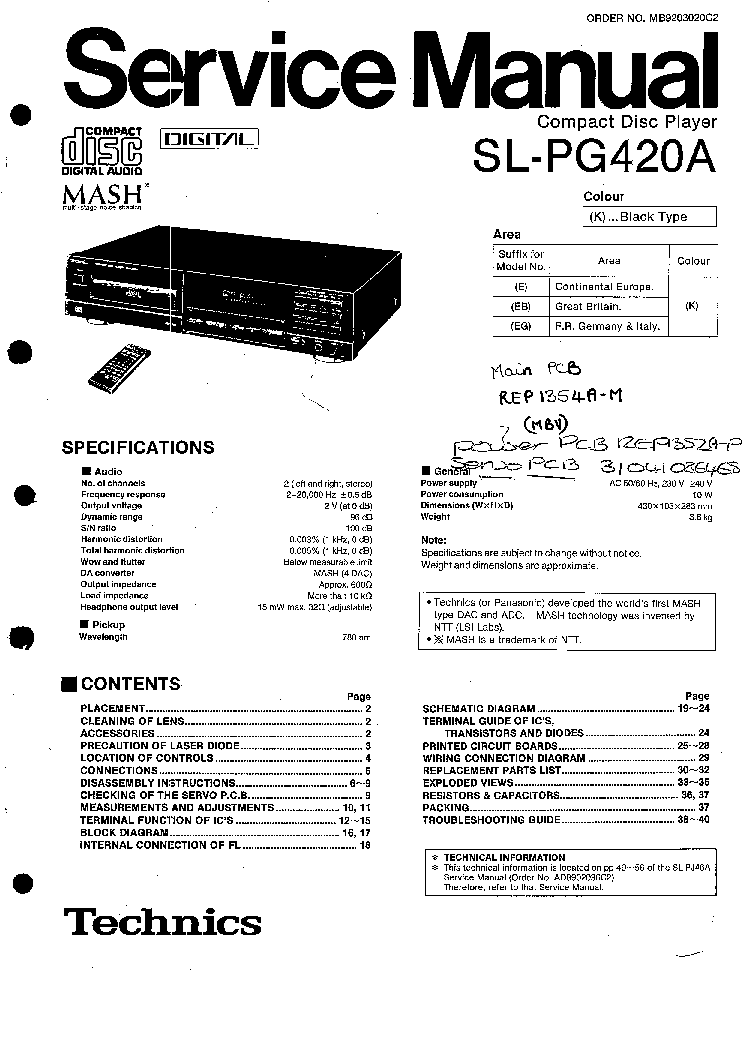 TECHNICS SL-PG420A service manual