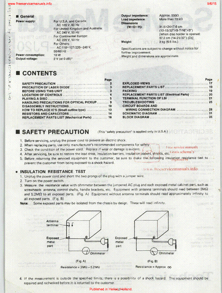 TECHNICS SL-PJ20 SM Service Manual download, schematics, eeprom