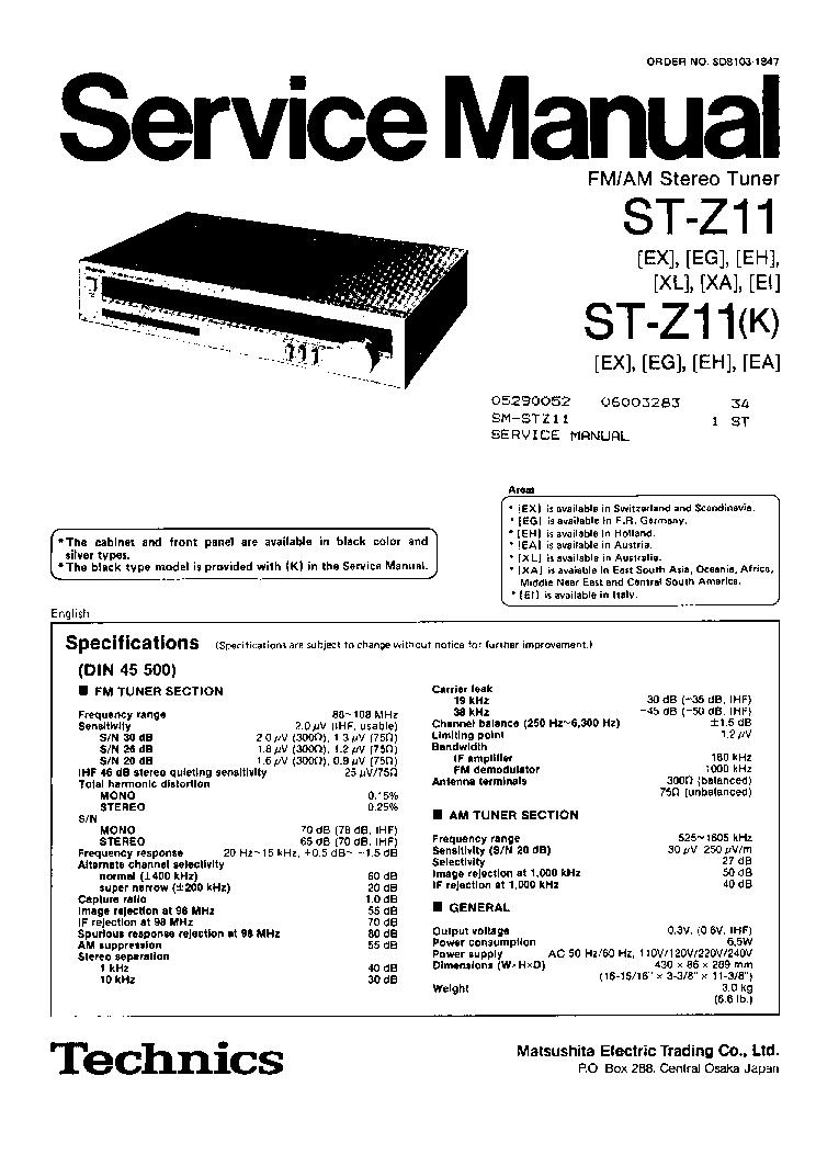TECHNICS SU-7300 SERVICE Service Manual download, schematics