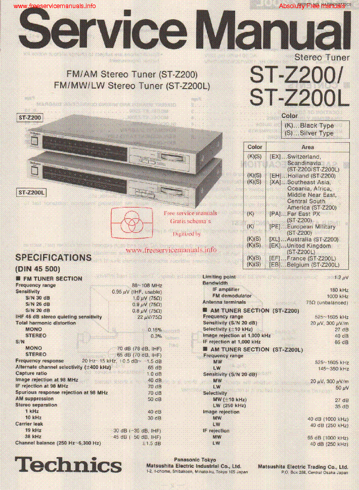 Technics St Z200 St Z200l Service Manual Download