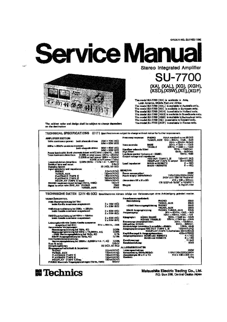 TECHNICS SU-X990D SM Service Manual download, schematics, eeprom