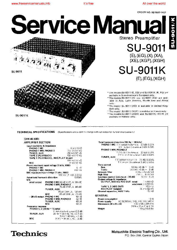 TECHNICS SU-9011 SM Service Manual download, schematics