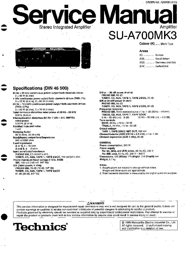 TECHNICS SU-A700MK3 E EB EG EW SM service manual (1st page)