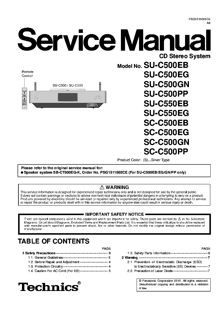 TECHNICS SE-C01 SH-C01 SM Service Manual download, schematics
