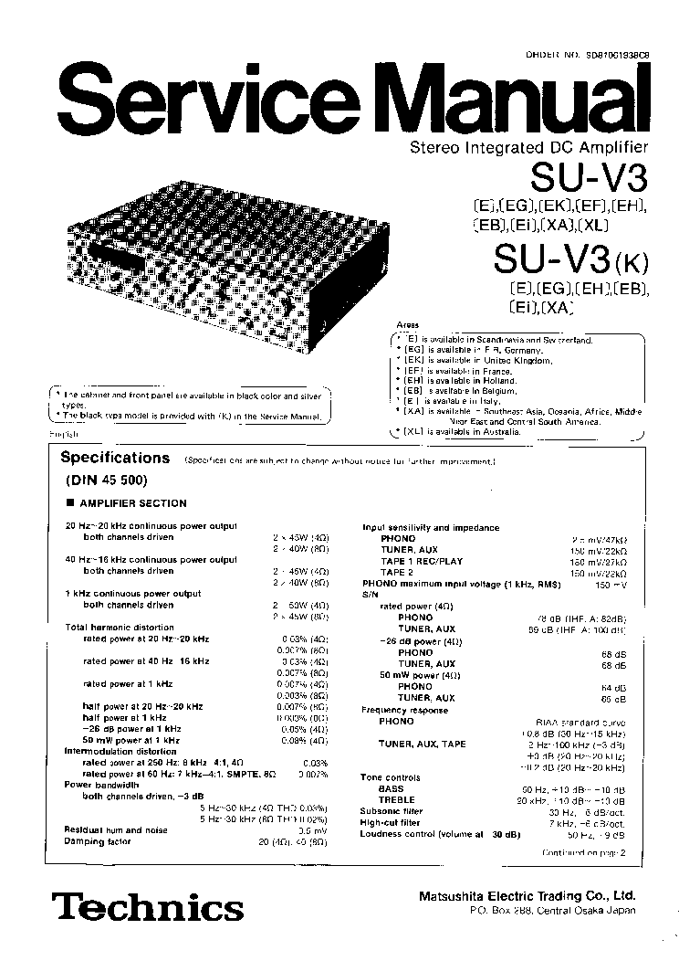TECHNICS SU-V3 V3K SM Service Manual download, schematics