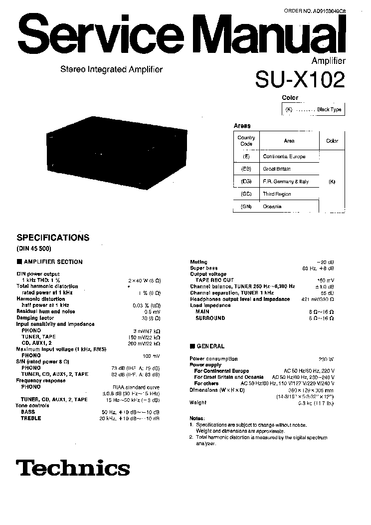 TECHNICS SU-X102 SM 1 service manual (1st page)