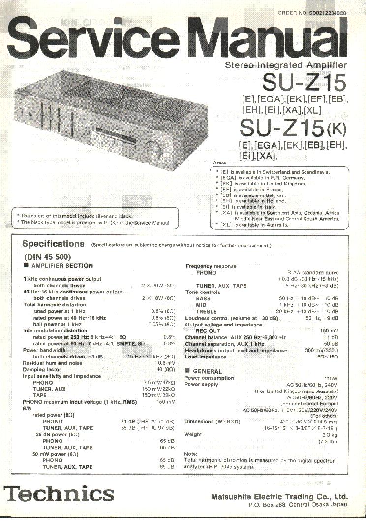 TECHNICS SE-CA01 SM Service Manual download, schematics