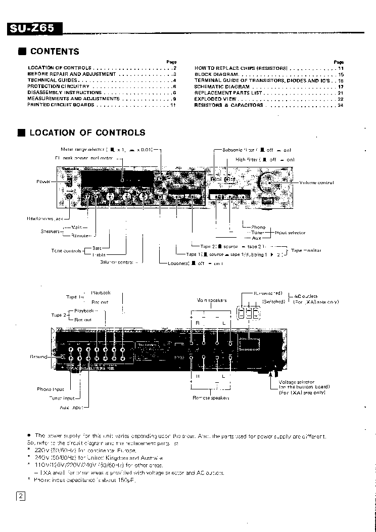 TECHNICS SU-Z65 SM Service Manual download, schematics
