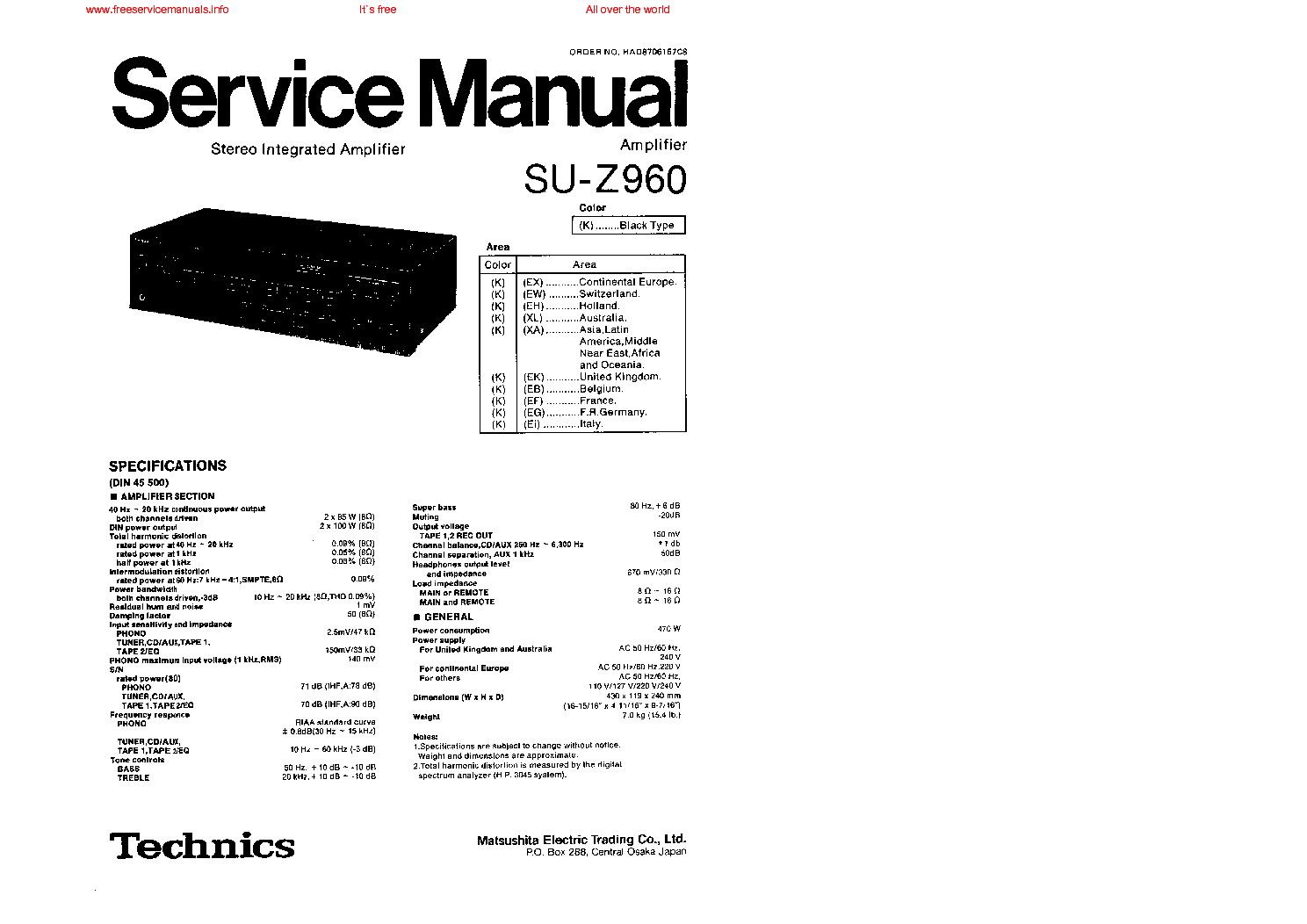 TECHNICS SU-Z960 service manual (1st page)