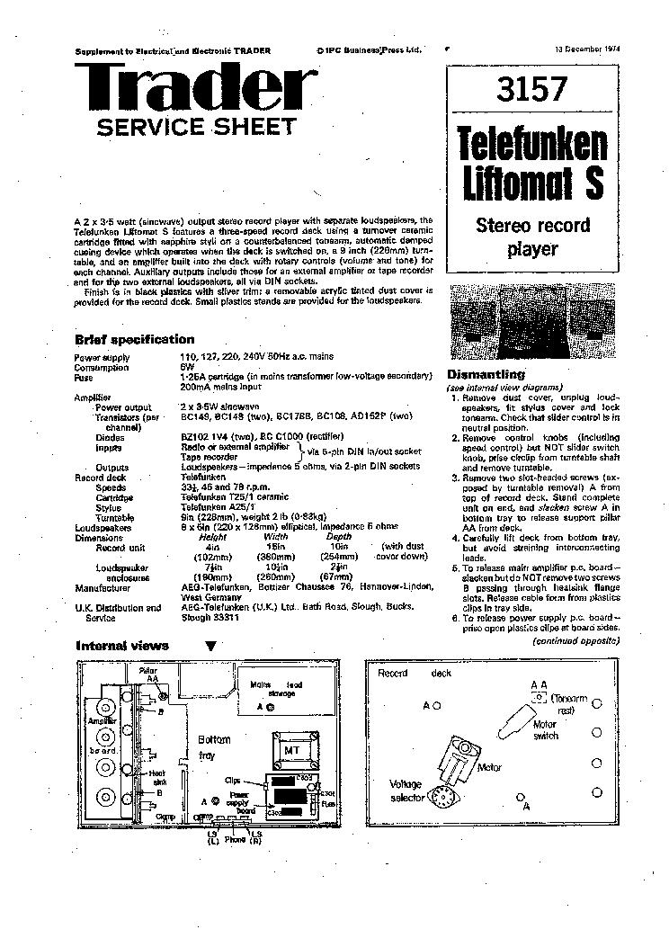 TELEFUNKEN LIFTOMAT-S TURNTABLE SM Service Manual download