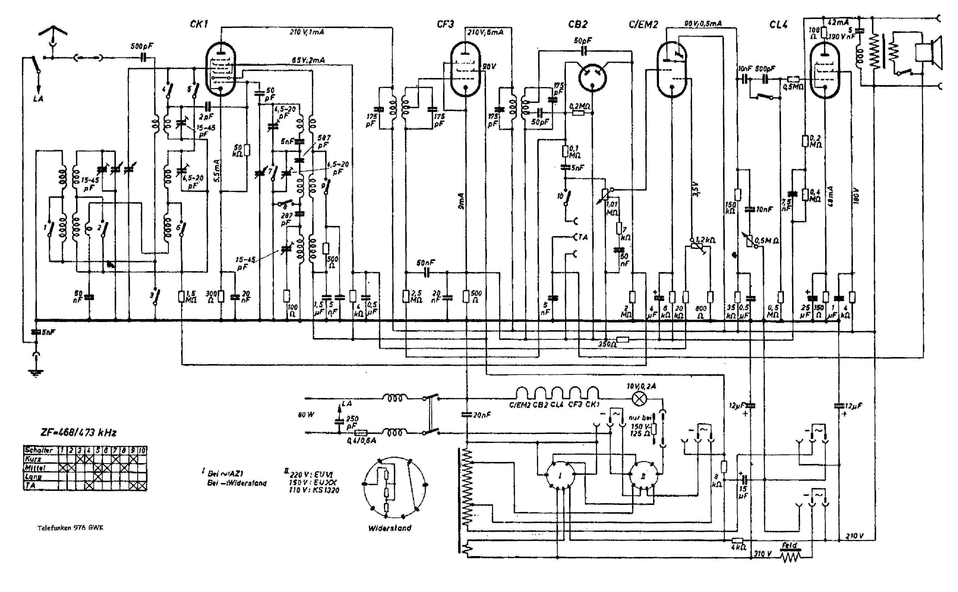 Telefunken Opus 976 Gwk Ac Dc Radio Sch Service Manual