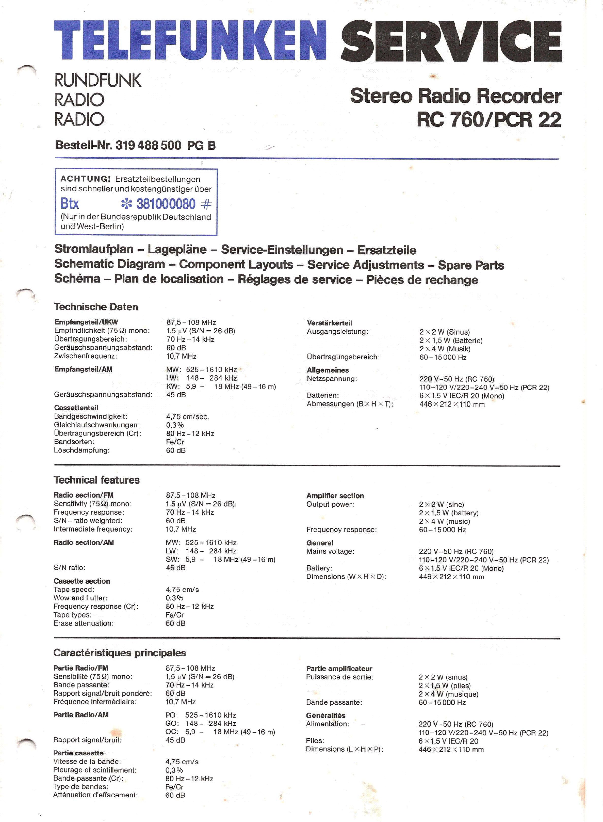 Service Manual-Anleitung für Telefunken Atlanta de Luxe 101