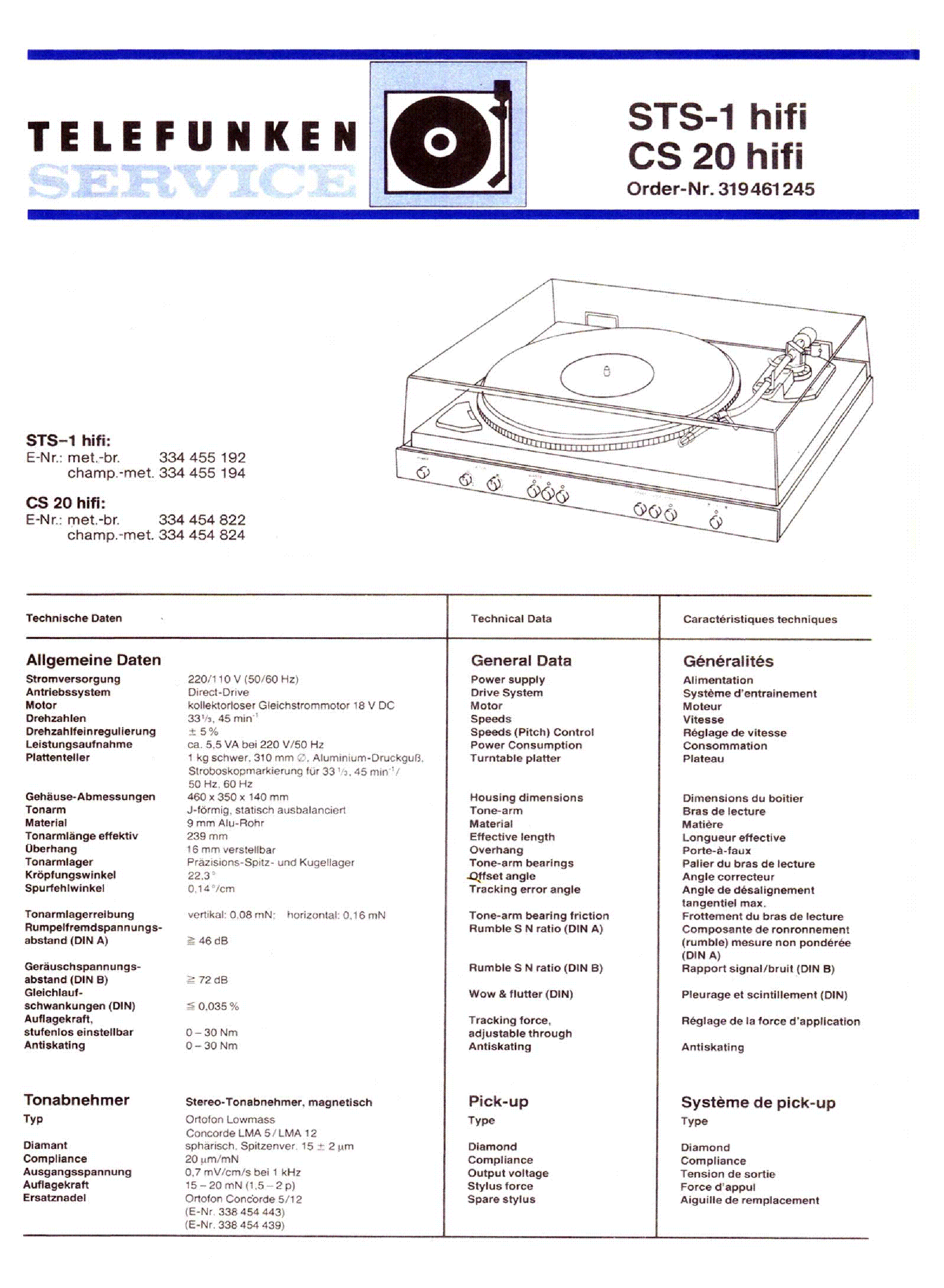 TELEFUNKEN STS-1 CS20 HIFI TURNTABLE Service Manual download