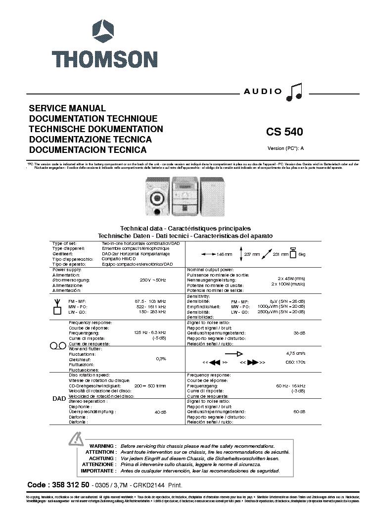 thomson cs540 ver a service manual download schematics eeprom rh elektrotanya com Truck Manual Service Manuals