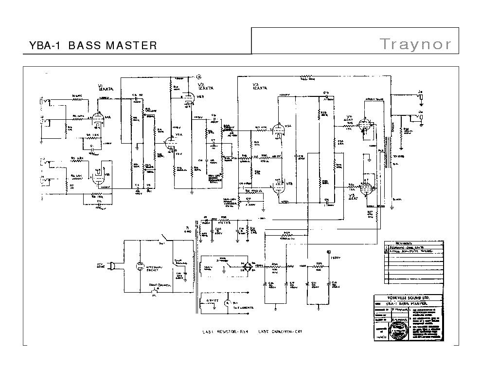 TRAYNOR YBA-1 YBA-4 BASS MASTER SCH Service Manual