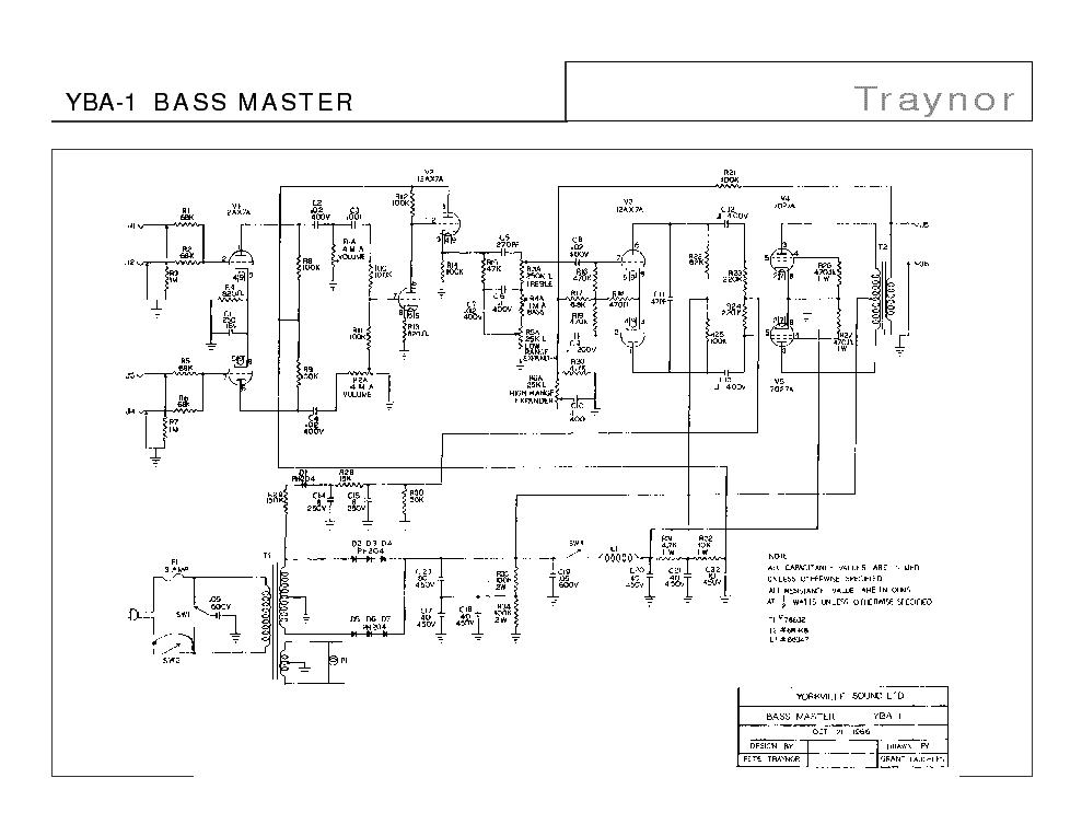 TRAYNOR YBA-1 YBA-4 BASS MASTER SCH Service Manual download