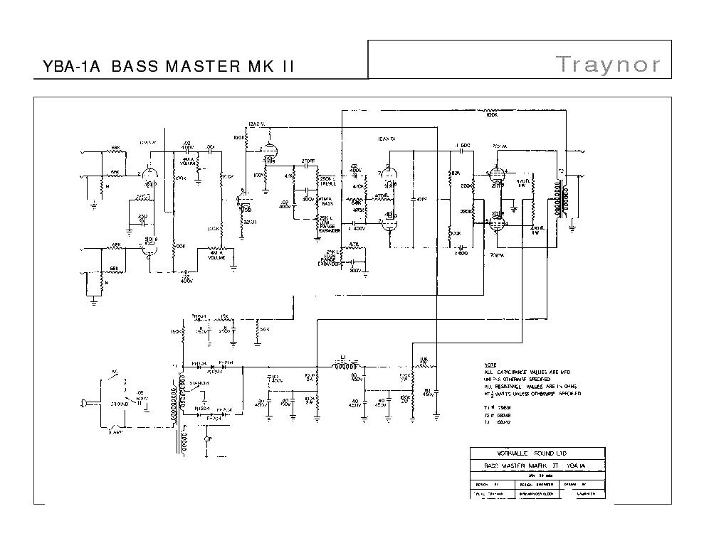 TRAYNOR YBA-1A BASS MASTER MK II SCH Service Manual free
