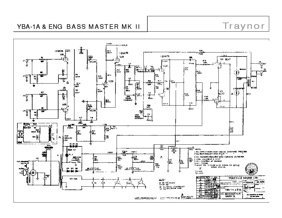 TRAYNOR YBA-1A BASS MASTER MK II SCH Service Manual