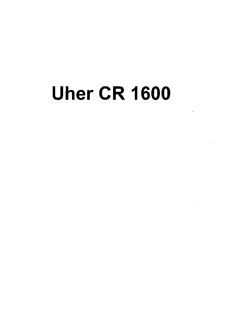 UHER CR-1600 SM service manual (1st page)