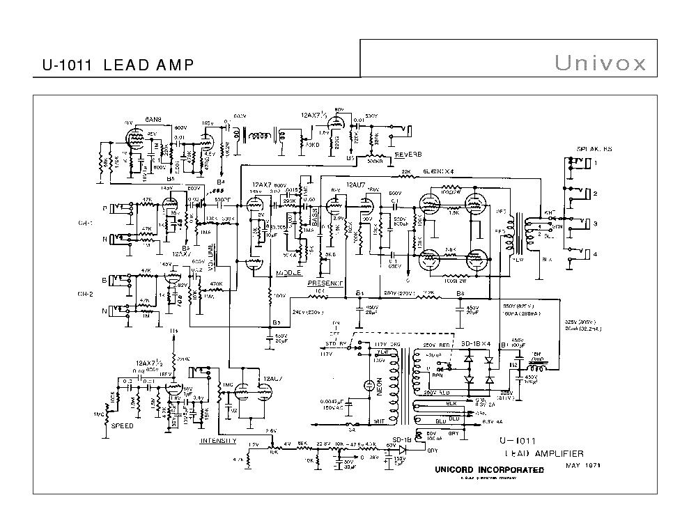 Univox Guitar Wiring Diagram : Univox amp schematic vox elsavadorla