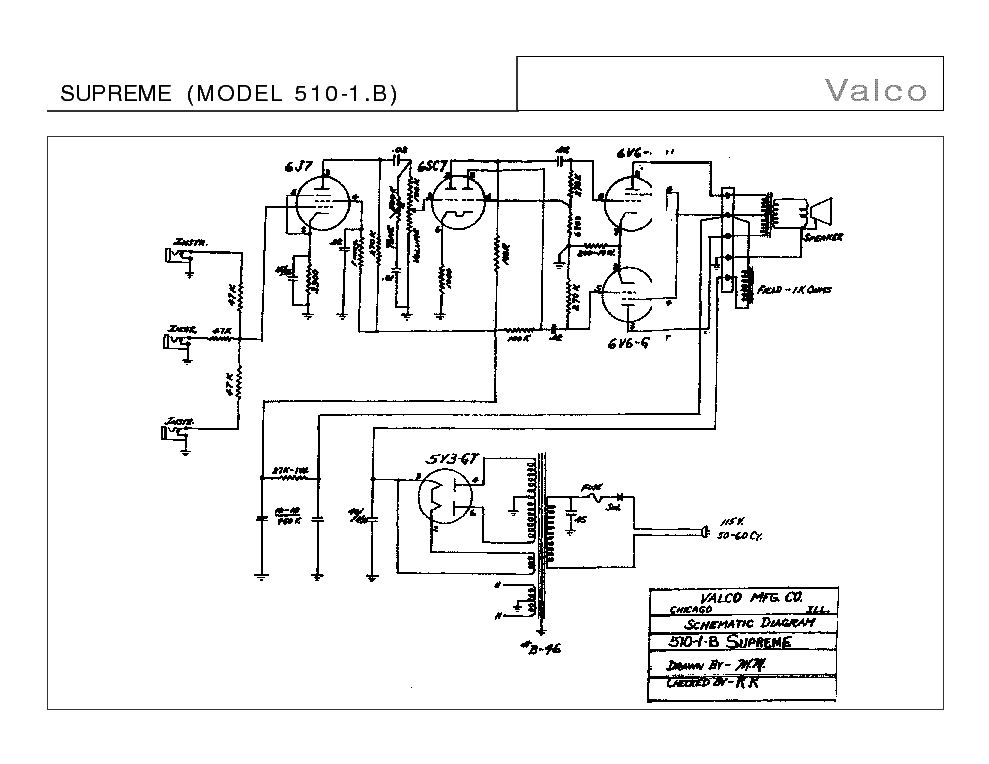 VALCO SUPREME MODEL 510-1 B SCH Service Manual download, schematics
