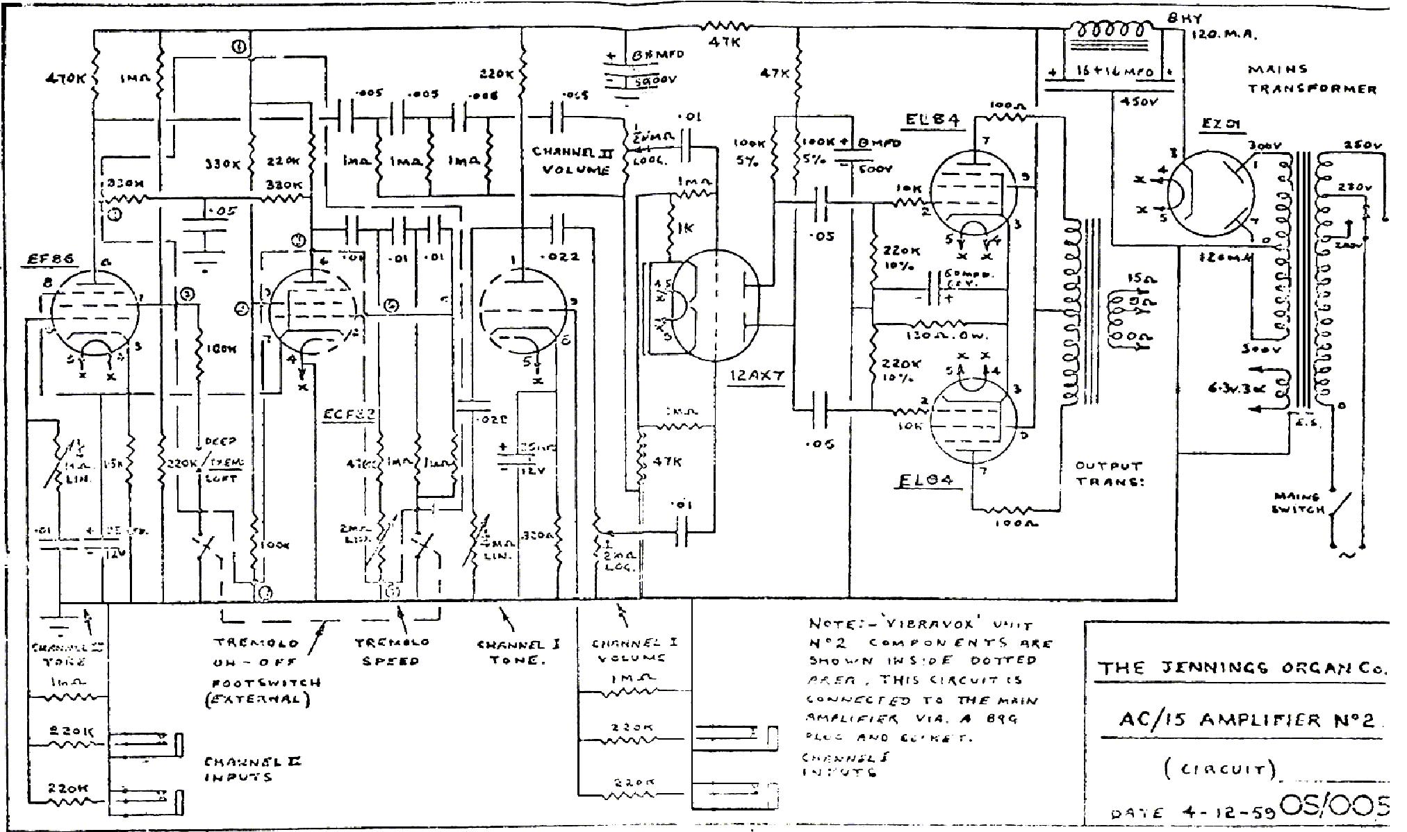 vox v125 bass valve head input stage 1981 sch service