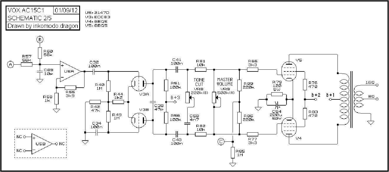 VOX AC15C1 SCH Service Manual download, schematics, eeprom ... on