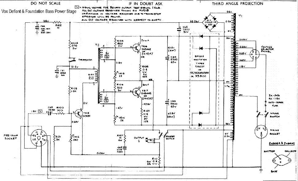 vox defiant bass ss power amp sch service manual download  schematics  eeprom  repair info for