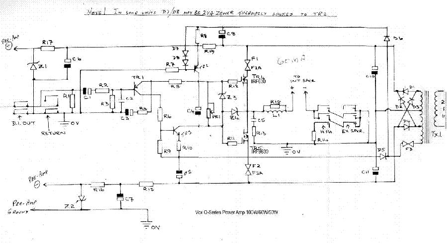 vox super foundation bass preamp 1969 sch service manual