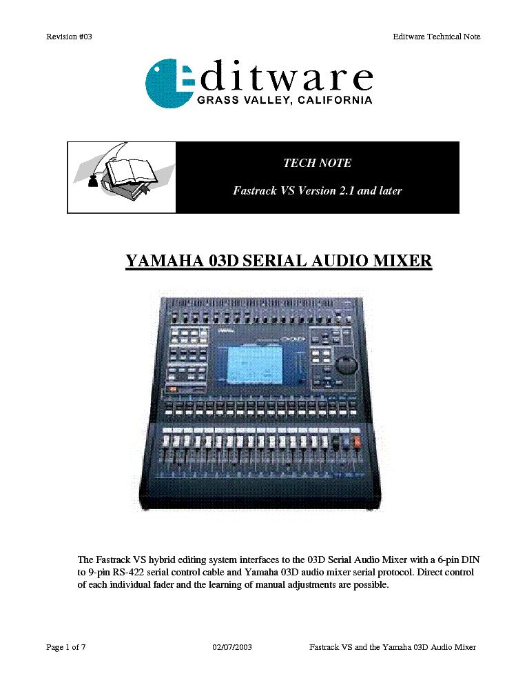 03d service manual best setting instruction guide u2022 rh ourk9 co Yamaha 03D Digital Mixer SatCom Array 0.3D Nn