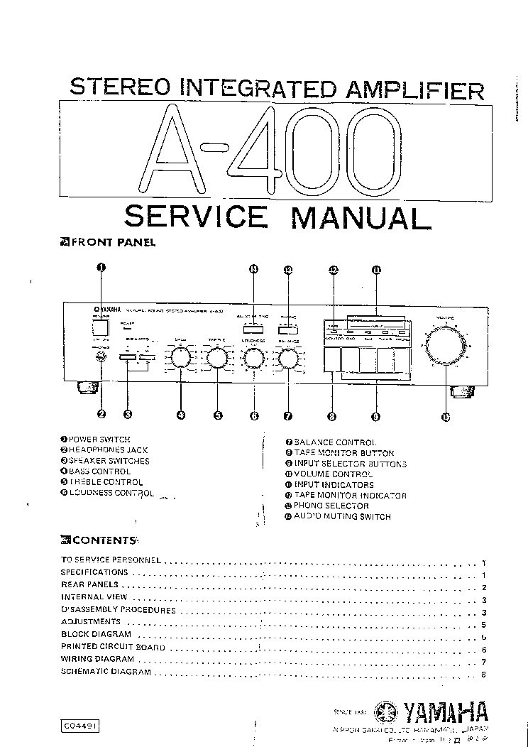 yamaha a 400 amplifier service manual schematics yamaha a 400 amplifier service manual 1st page
