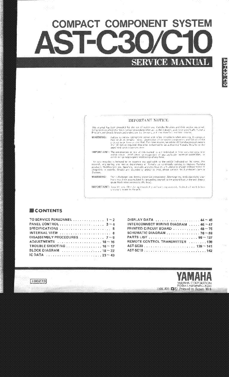 Yamaha A S3000 Service Manual Download Schematics Eeprom Repair Remote Control Wiring Diagram